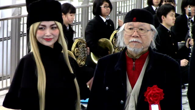 legendary manga artist leiji matsumoto got to hear a familiar tune at a ceremony for the sanyo shinkansen bullet train held on march 9 2016 in... - kyushu shinkansen stock videos and b-roll footage