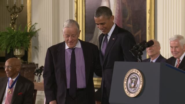 legendary washington post editor ben bradlee receives the presidential medal of honor from us president barack obama bradlee died at age 93 on... - watergate scandal stock videos & royalty-free footage