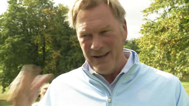 legends from arsenal and tottenham hotspur renew rivalry for charity golf day; england: hertfordshire: buntingford: east herts golf club: ext bob... - golf swing stock videos & royalty-free footage