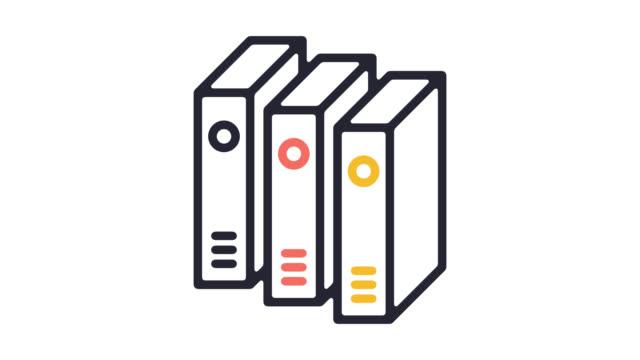 Legislation Files Line Icon Animation with Alpha
