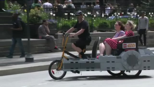 Lego Millennium Falcon Pedicab Cruising NYC Streets on 'Star Wars Day'