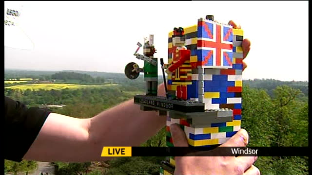 legoland tower breaks world record on live shots of final bricks being added to top of world's tallest lego tower bo dahl sot saying that its great... - dahl stock videos and b-roll footage