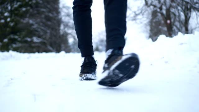 Legs in winter walk