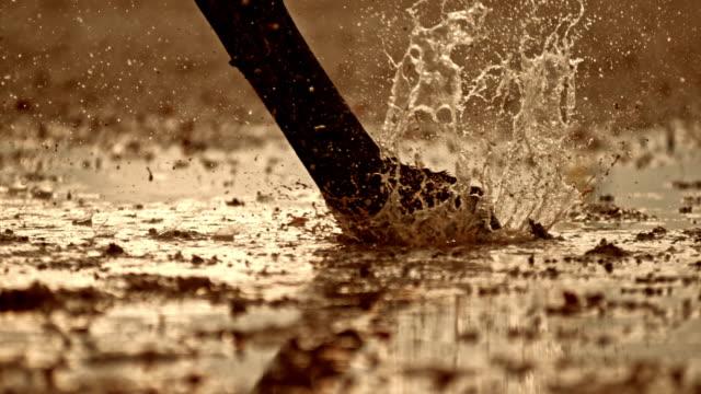 vidéos et rushes de slo mo ts jambes d'un cheval frappant le sol mouillé - sabot