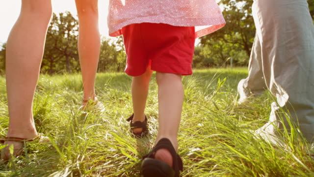 slo mo ben av ett litet småbarn som går i gräset med mamma och pappa på en solig dag - ung familj bildbanksvideor och videomaterial från bakom kulisserna