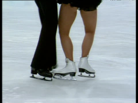 legs of amanda jones and andrew fyles during their performance of blues compulsory dance british ice dance championships sheffield jan 94 - figure skating stock videos & royalty-free footage