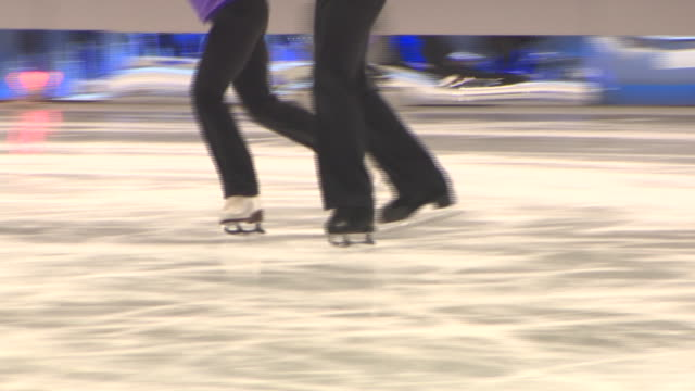 legs of jayne torvill and christopher dean skating during training for dancing on ice tour - figure skating stock videos & royalty-free footage