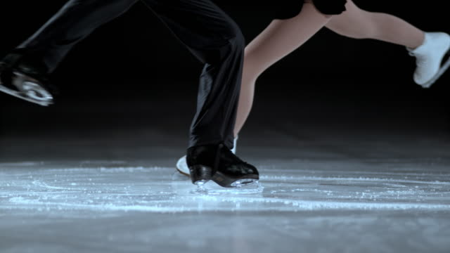 SLO MO Legs of the figure skating pair during spin