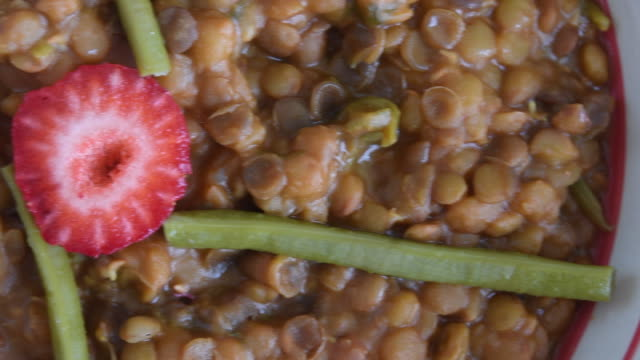 Legume lentils, serving a freshly cooked plate of the nutritive food
