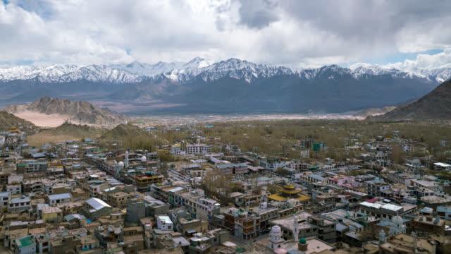 Leh city with mountain leh ladakh india