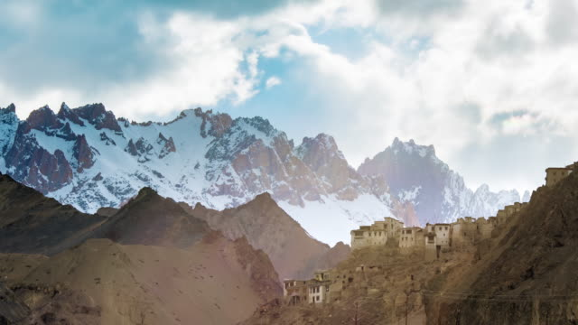 leh city with mountain leh ladakh india - monastery stock videos & royalty-free footage