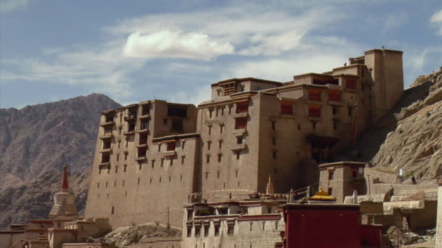 ms, leh palace in mountain landscape, leh, ladakh, jammu and kashmir, india - 17th century style stock videos & royalty-free footage