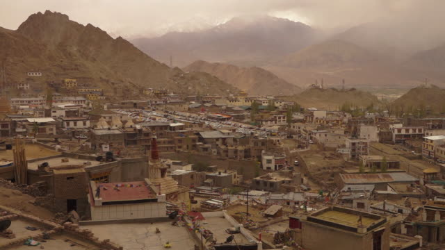 leh town occupied by many buddhists, ladakh. - religious equipment stock-videos und b-roll-filmmaterial
