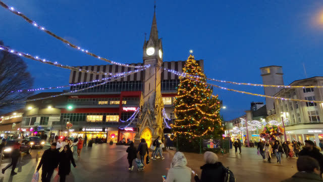 leicester city center during christmas season - leicester stock videos & royalty-free footage