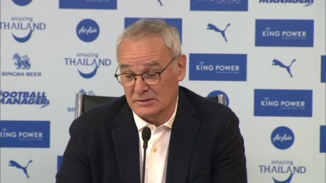 leicester city close to winning premier league title diversity of fanbase england leicester king power int side shot claudio ranieri at press... - sports league stock videos & royalty-free footage
