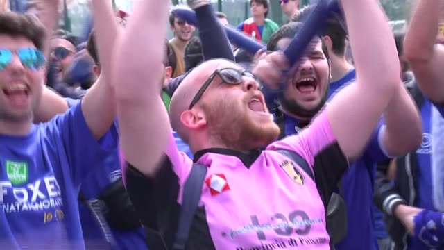 Leicester City fans celebrate winning Premier League trophy ENGLAND Leicester King Power Stadium EXT Varios of Leicester fans from Italy celebrating...