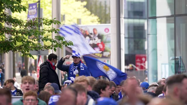 leicester city f.c. football fans drink outside wembley stadium ahead of the fa cup final on may 15, 2021 in london, england. a limited number of... - refreshment stock videos & royalty-free footage