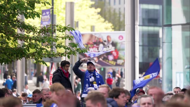 leicester city f.c. football fans drink outside wembley stadium ahead of the fa cup final on may 15, 2021 in london, england. a limited number of... - fan enthusiast stock videos & royalty-free footage