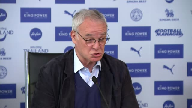 Claudio Ranieri press conference ahead of penultimate match INT Claudio Ranieri press conference SOT re call from opera singer Andrea Bocelli...