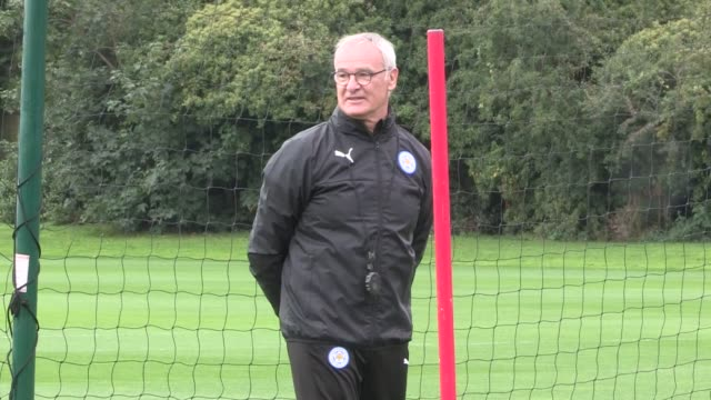 leicester city training; england: leicester ext gvs leicester squad on training pitch including luis hernandez rodriguez and danny drinkwater /... - only japanese stock videos & royalty-free footage