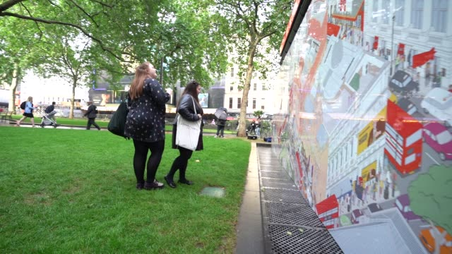 leicester square tkts booth mural launch tkts booth mural at leicester square on june 4, 2019 in london, england. - launch event stock videos & royalty-free footage