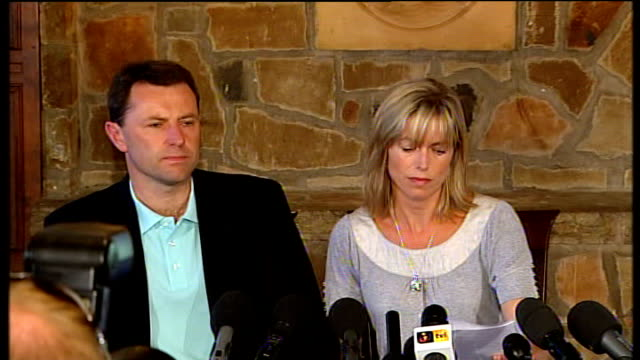 leicestershire: rothley: int **beware flash photography** kate mccann press conference with husband gerry mccann alongside sot - we welcome the news... - disappearance of madeleine mccann stock videos & royalty-free footage