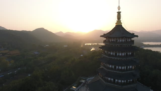 leifeng pagoda, west lake, hangzhou, zhejiang - hangzhou stock videos & royalty-free footage