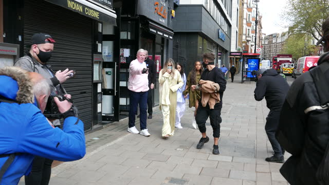leigh-anne pinnock, jade thirlwall and perrie edwards from little mix seen leaving capital breakfast radio studios on april 30, 2021 in london,... - breakfast stock videos & royalty-free footage