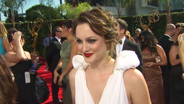 leighton meester on experiencing the emmys how long it took her to get ready who she's rooting for her dress at the 61st annual primetime emmy awards... - annual primetime emmy awards stock-videos und b-roll-filmmaterial