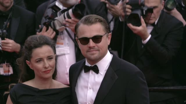 leila conners and leonardo dicaprio on the red carpet for oh mercy premiere in cannes cannes, france on wednesday may 22, 2019 - leonardo dicaprio stock videos & royalty-free footage