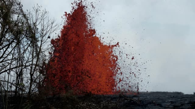 leilanieruption of kilauea volcano on hawaii after a series of earthquakes an eruption started on 3rd may since then lava fontains were generated and... - kilauea stock videos & royalty-free footage