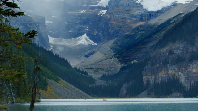 Leisure boats on Lake Louise, Canadian Rockies.