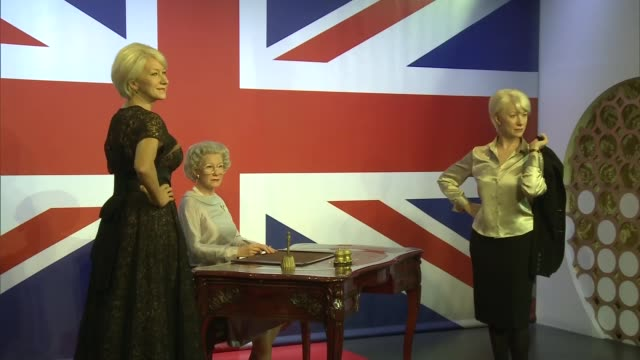 helen mirren waxwork england london madame tussauds photography*** various shots of three helen mirren waxworks portraying her as of prime suspect's... - madame tussauds stock videos & royalty-free footage