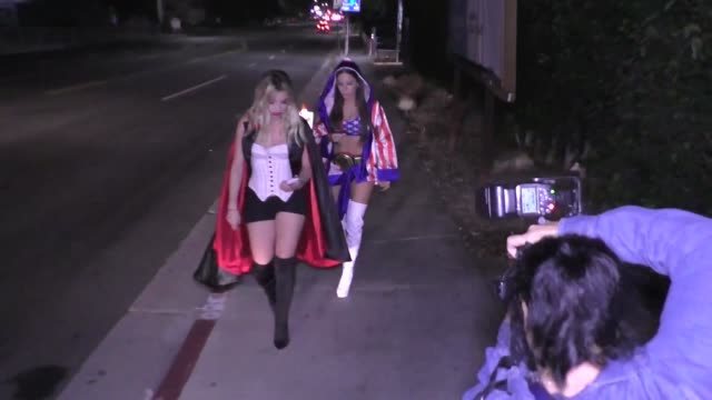 lele pons and jen selter outside adam levine's halloween party at sportsmen's lodge in studio city at celebrity sightings in los angeles on october... - pons stock videos & royalty-free footage