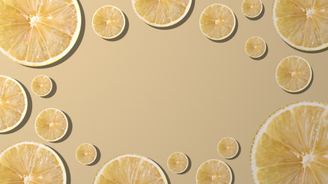 lemon slice with copy space composition on yellow background - juicy stock videos & royalty-free footage