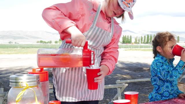 stockvideo's en b-roll-footage met limonade stand en meisjes verkopen limonade in usa - initiatief