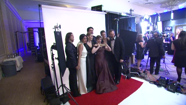 Lena Dunham Allison Williams Zosia Mamet Judd Apatow and Adam Driver at the 70th Annual Golden Globe Awards Backstage in Beverly Hills CA on 1/13/13