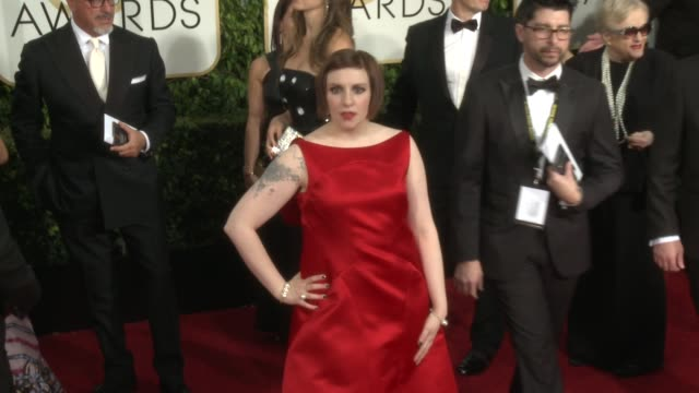 Lena Dunham at 72nd Annual Golden Globe Awards Arrivals at The Beverly Hilton Hotel on January 11 2015 in Beverly Hills California