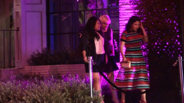 stockvideo's en b-roll-footage met lena dunham & jenni konner depart the variety and women in film pre emmy party at gracias madre in los angeles in celebrity sightings in los angeles, - pre emmy party