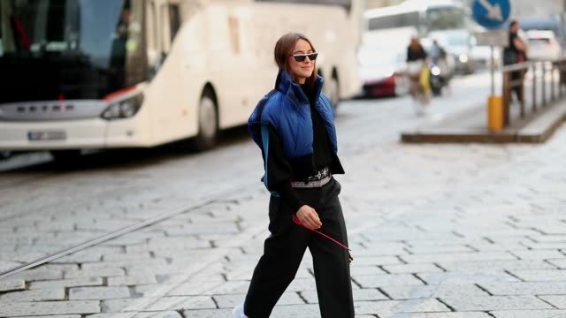 Lena Lademann wearing blue cropped sleeveless jacket is seen outside Sportmax during Milan Fashion Week Spring/Summer 2019 on September 21 2018 in...