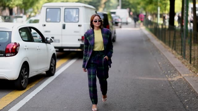 lena lademann wearing checked suit and yellow shirt is seen outside fendi during milan fashion week spring/summer 2019 on september 20 2018 in milan... - completo video stock e b–roll