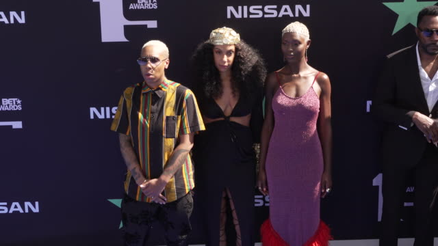 lena waithe melina matsouka and jodie turnersmith at the 2019 bet awards at microsoft theater on june 23 2019 in los angeles california - black entertainment television stock videos & royalty-free footage