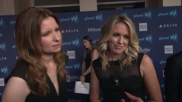 interview lennon parham and jessica st clair on being nominated and on the glaad awards at the 26th annual glaad media awards at the beverly hilton... - the beverly hilton hotel stock videos & royalty-free footage