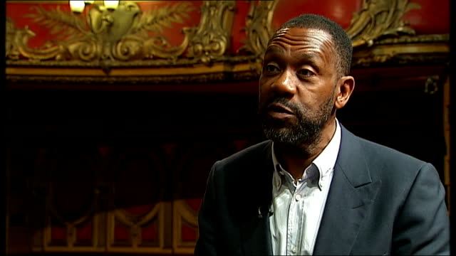 vídeos de stock e filmes b-roll de lenny henry calls on creative industries to improve ethnic diversity; hackney empire: int lenny henry interview sot - still very undiverse / welcome... - lenny henry