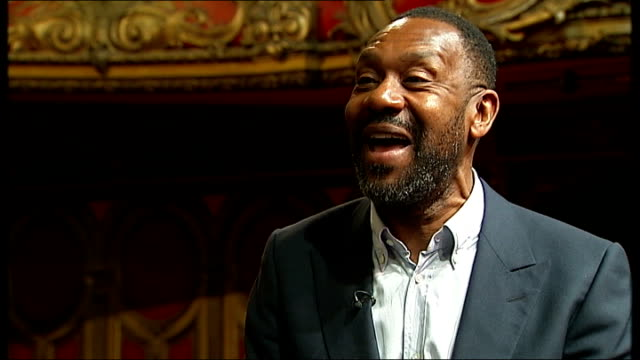 vídeos de stock e filmes b-roll de lenny henry calls on creative industries to improve ethnic diversity; england: london: int lenny henry interview sot - we don't want quotas we want... - lenny henry
