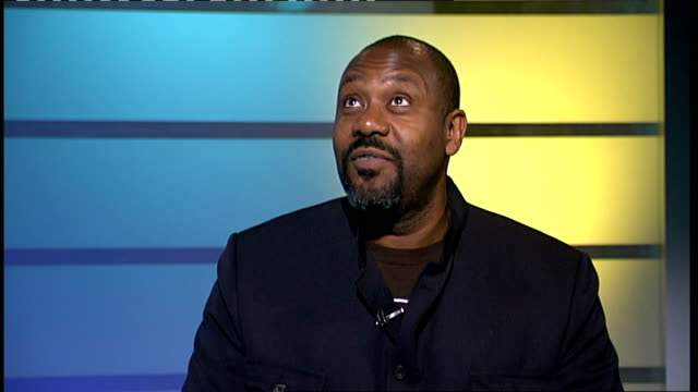 lenny henry studio interview sot - discusses ahving to act through noise made by audience - lenny henry stock videos & royalty-free footage