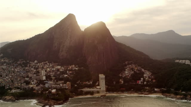 Lens flare aerial shot of Brazilian coastline in Rio de Janeiro