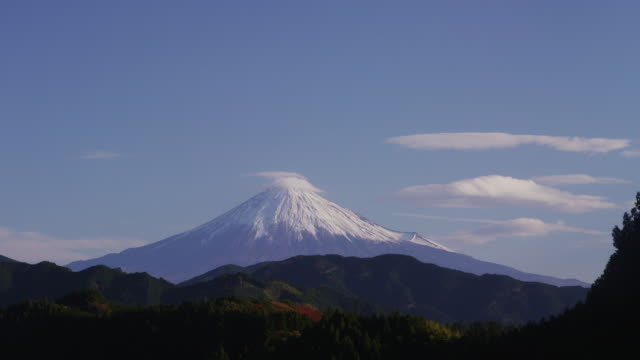 lenticular clouds over mt. fuji - shizuoka prefecture stock videos and b-roll footage