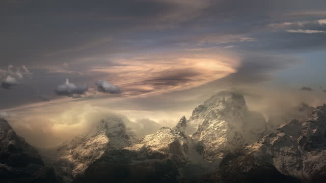 lenticular clouds over rocky mountains, grand teton national park wy - atmospheric mood stock videos & royalty-free footage