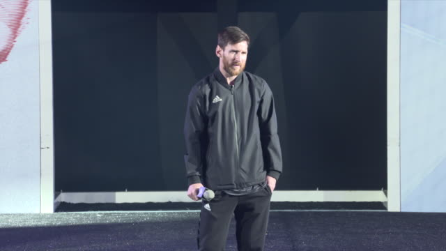 leo messi attends a presentation of his new adidas shoes at the palau sant jordi club on january 26 2018 in barcelona spain - lionel messi stock videos and b-roll footage